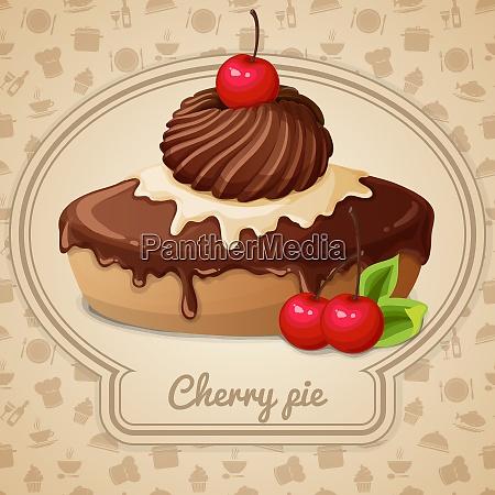 cherry pie dessert bakery emblem and