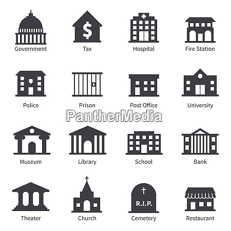 government building icons set of police