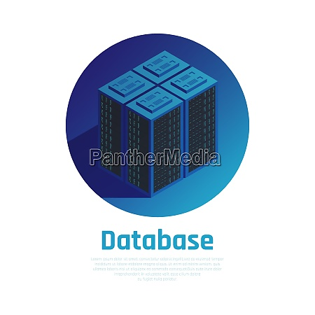 database blue round background demonstrating storage