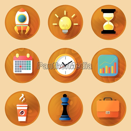 wooden business icons set of space