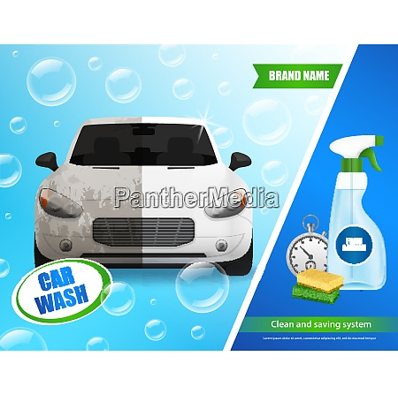 car wash products realistic advertisement poster