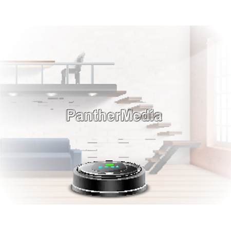 black robotic vacuum cleaner on background