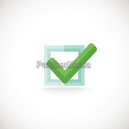 decorative blue square contour checkbox green