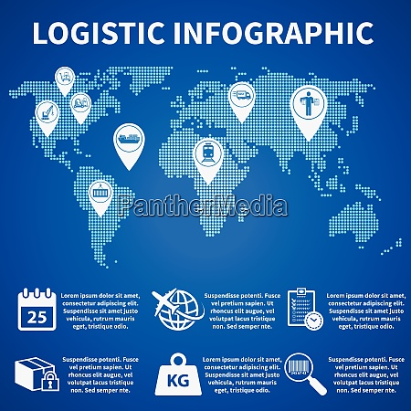 logistic freight service infographic icons set
