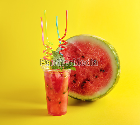 smoothie from ripe red watermelon in