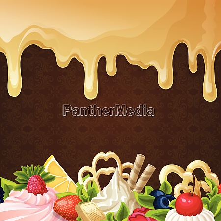 sweets dessert background with caramel syrup
