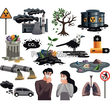 ecological disasters flat images set with