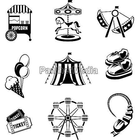 amusement entertainment park black and white