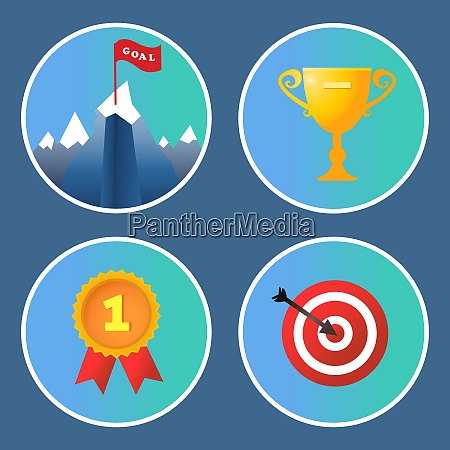 achievement icons set trophy summit medal