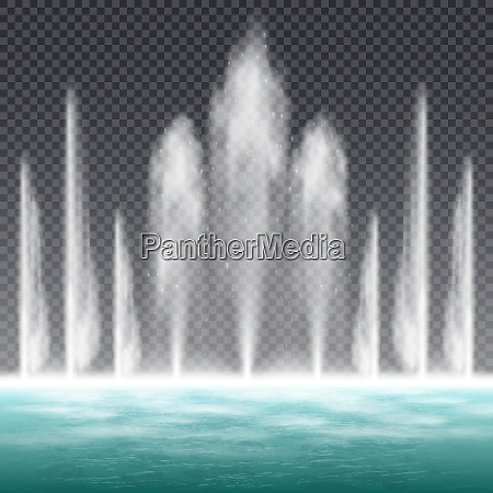 dancing jumping jet fountain with dynamic