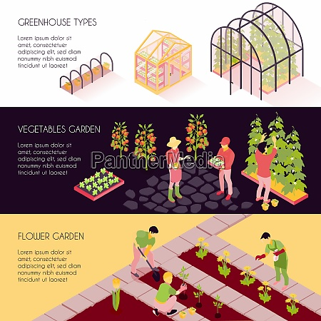 greenhouse types 3 horizontal isometric banners
