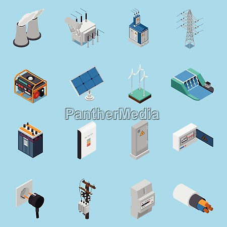 electricity isometric icons set with cable