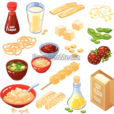 soya products isolated icons set of