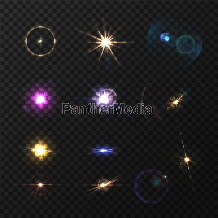 lens flares and twinkle realistic colored
