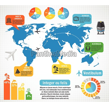 tourism infographic elements set with world