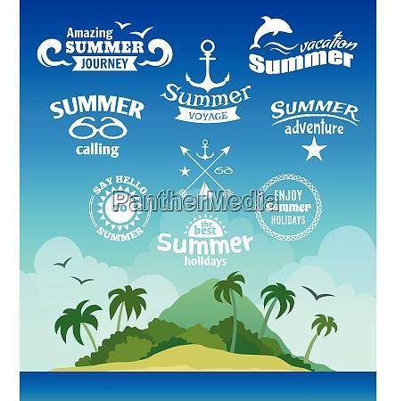 vintage summer voyage label set with