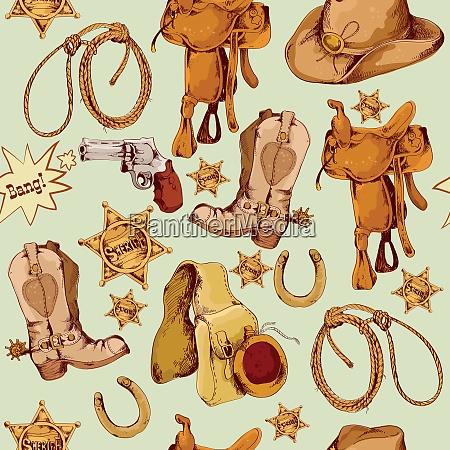 wild west cowboy colored hand drawn