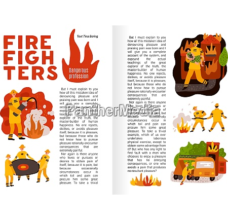 fire fighting flat infographics on book