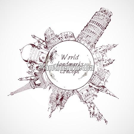 world landmark sketch concept of famous