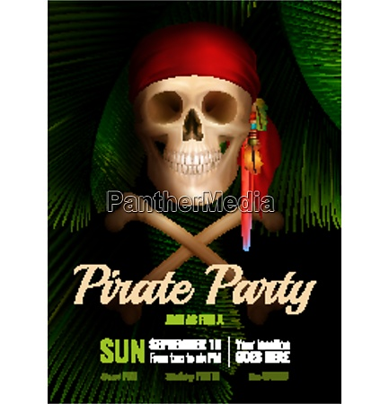 pirate party realistic poster with smiling