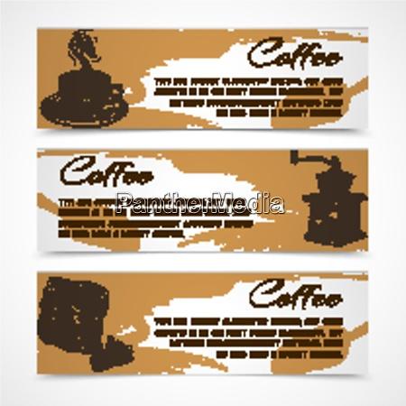 horizontal retro black strong coffee aroma