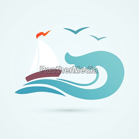 ocean sea water wave with sailing