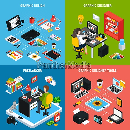 colorful 2x2 concept with graphic design