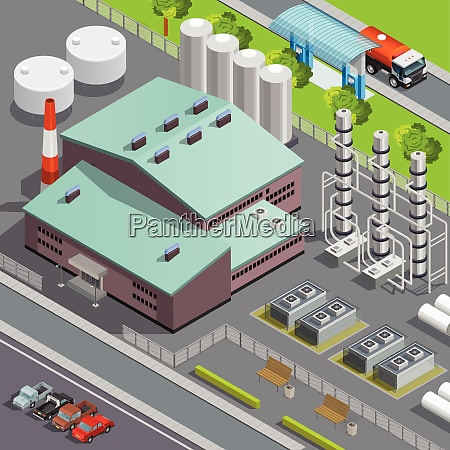 colorful isometric oil refinery and transport