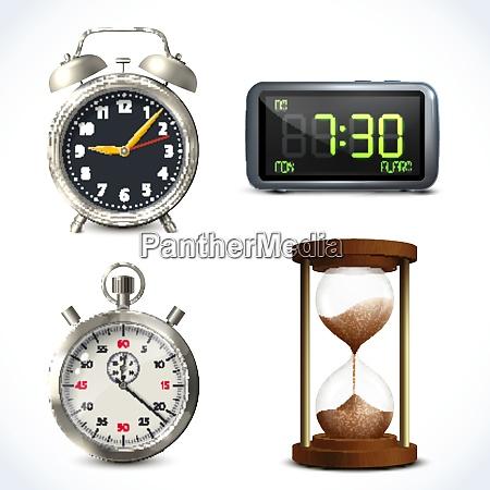 realistic clock set of retro
