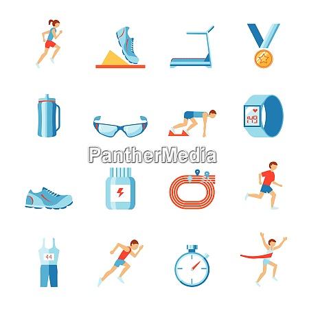 running race sport activity flat set