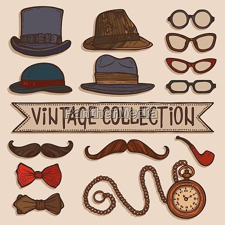 vintage gentleman set of hats glasses