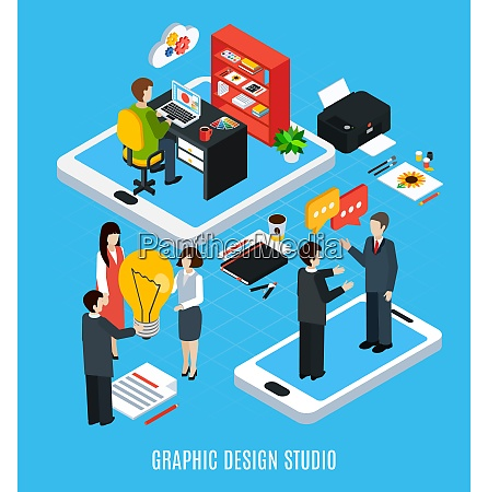 isometric concept with graphic design studio