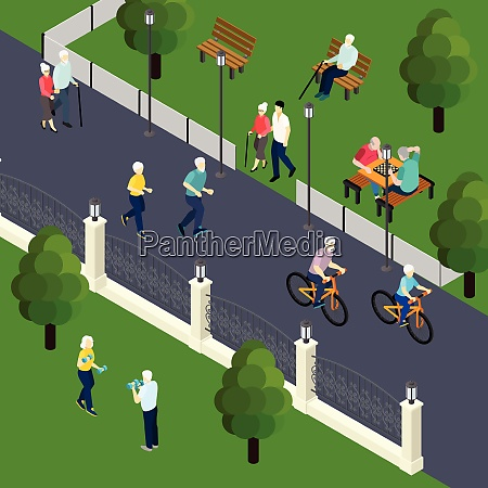 leisure activity of pensioners at outdoor