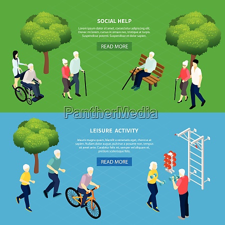 isometric horizontal banners social help for