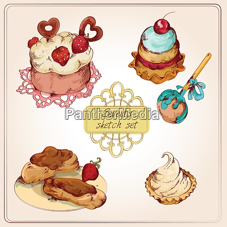 food sweets bakery and pastry sketch