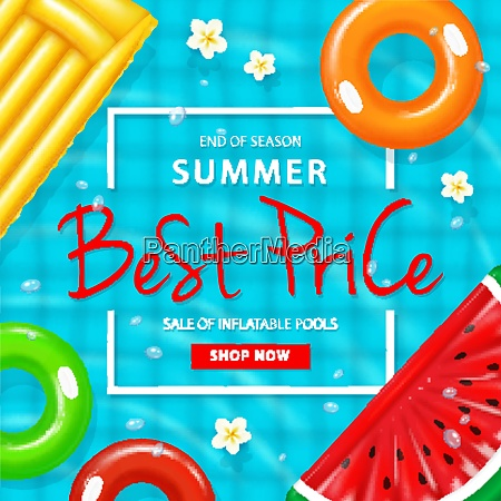 sale of inflatable pool ad poster