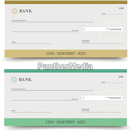 realistic bank check set isolated on