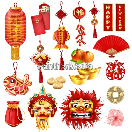 chinese new year set of dragon