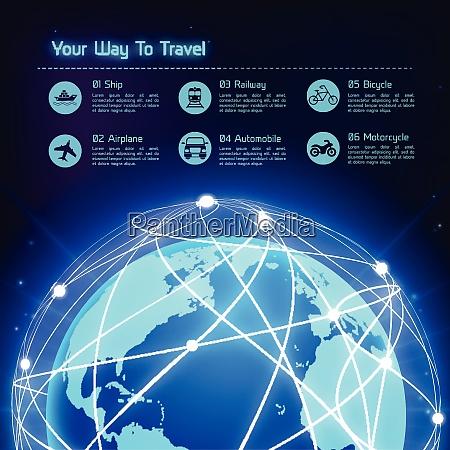 network globe blue sphere earth map