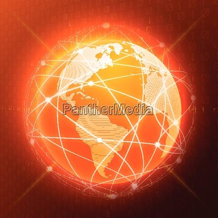 network globe orange sphere earth map
