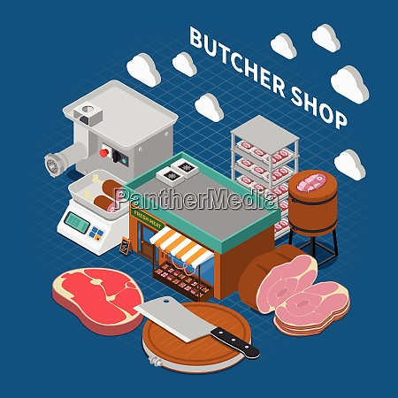 butchery sausage shop isometric composition with