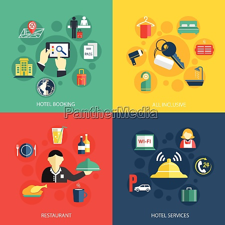 hotel accommodation services concept flat icons