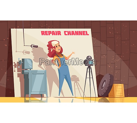 repair channel blogger composition with cartoon