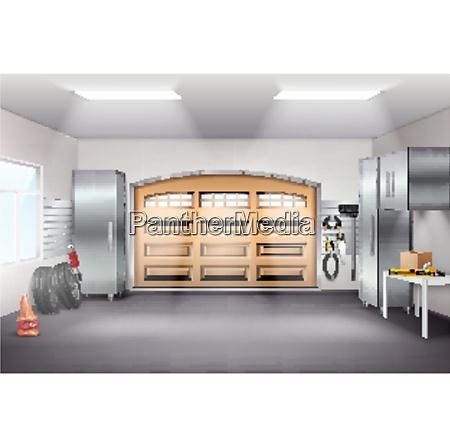 modern spacious garage interior realistic composition