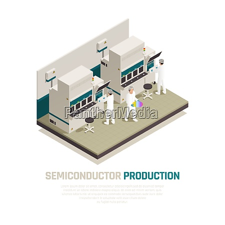semiconductor chip production isometric composition background