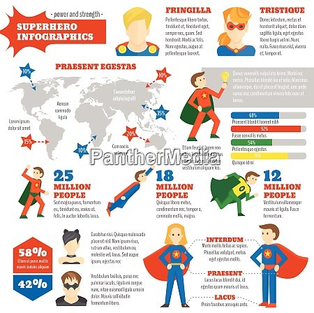 super hero infographics with avatars in