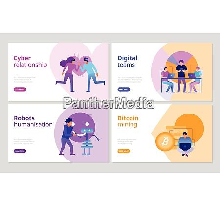 modern technologies horizontal banners set with