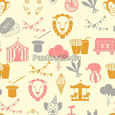 vintage decorate circus tent with clown