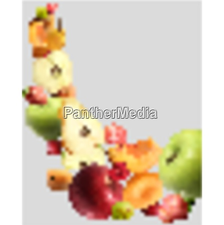fruits falling abstract transparent background with