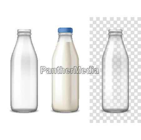 empty and filled milk glass bottles